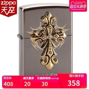 原裝正品ZIPPO防風打火機 黑冰貼章圣天使十字架 官方正品