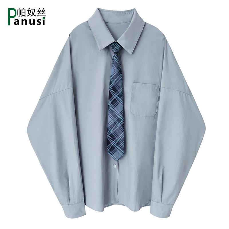 韩版宽松百搭学生帅气衬衣上衣