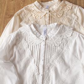 韩国文艺纯棉蕾丝花边刺绣长袖白衬衫镂空甜美打底衫女春装新款