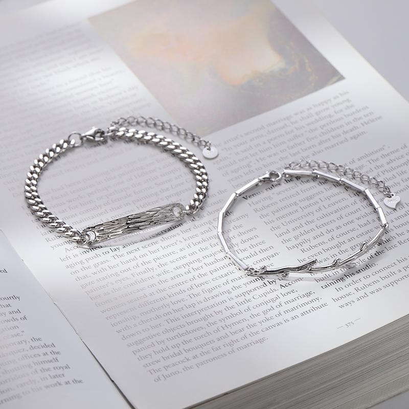 情侣银手链女男一对情侣款小众设计情人节礼物送男朋友  木有枝
