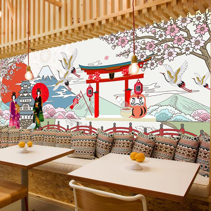 日式樱花寿司壁画壁纸自粘墙纸贴画墙画招财猫富士山墙贴画背景墙