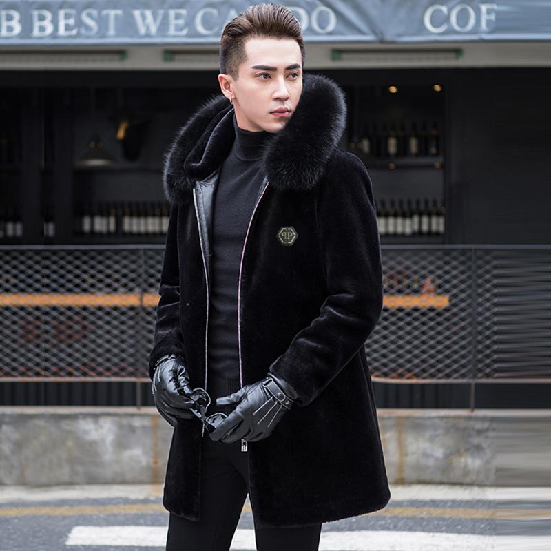 大衣羊剪绒男外套中长款真皮装皮衣