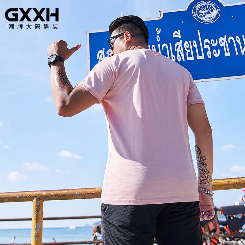 GxxH大码男装潮牌体恤胖子宽松印花上衣加肥加大绣花短袖T恤200斤