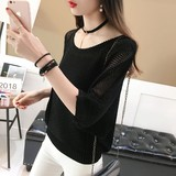 Bat sleeve sweater blouse female thin section early autumn loose 2019 new ice silk sweater shirt Korean hollow summer