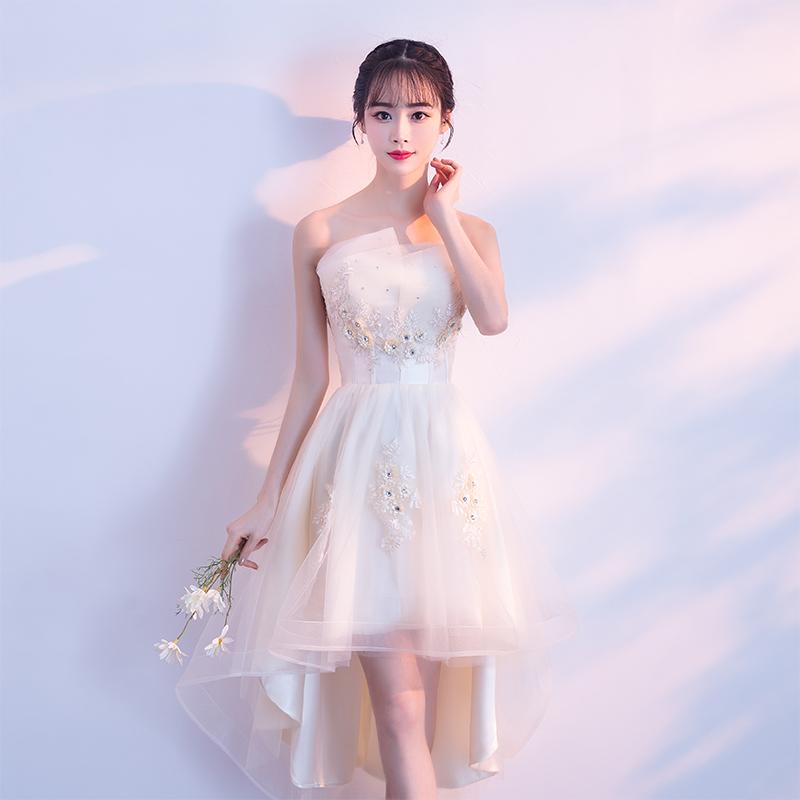 晚礼服女2018新款宴会高贵优雅短款伴娘服名媛洋装晚宴小礼服显瘦