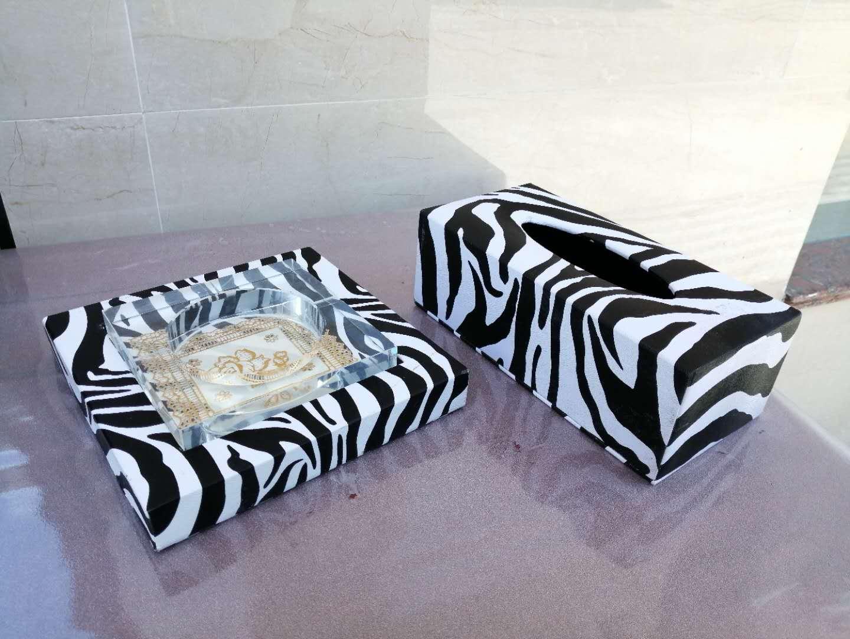 斑马玟皮革纸巾盒. 抽纸盒  桌面餐巾纸盒 个性纸巾盒