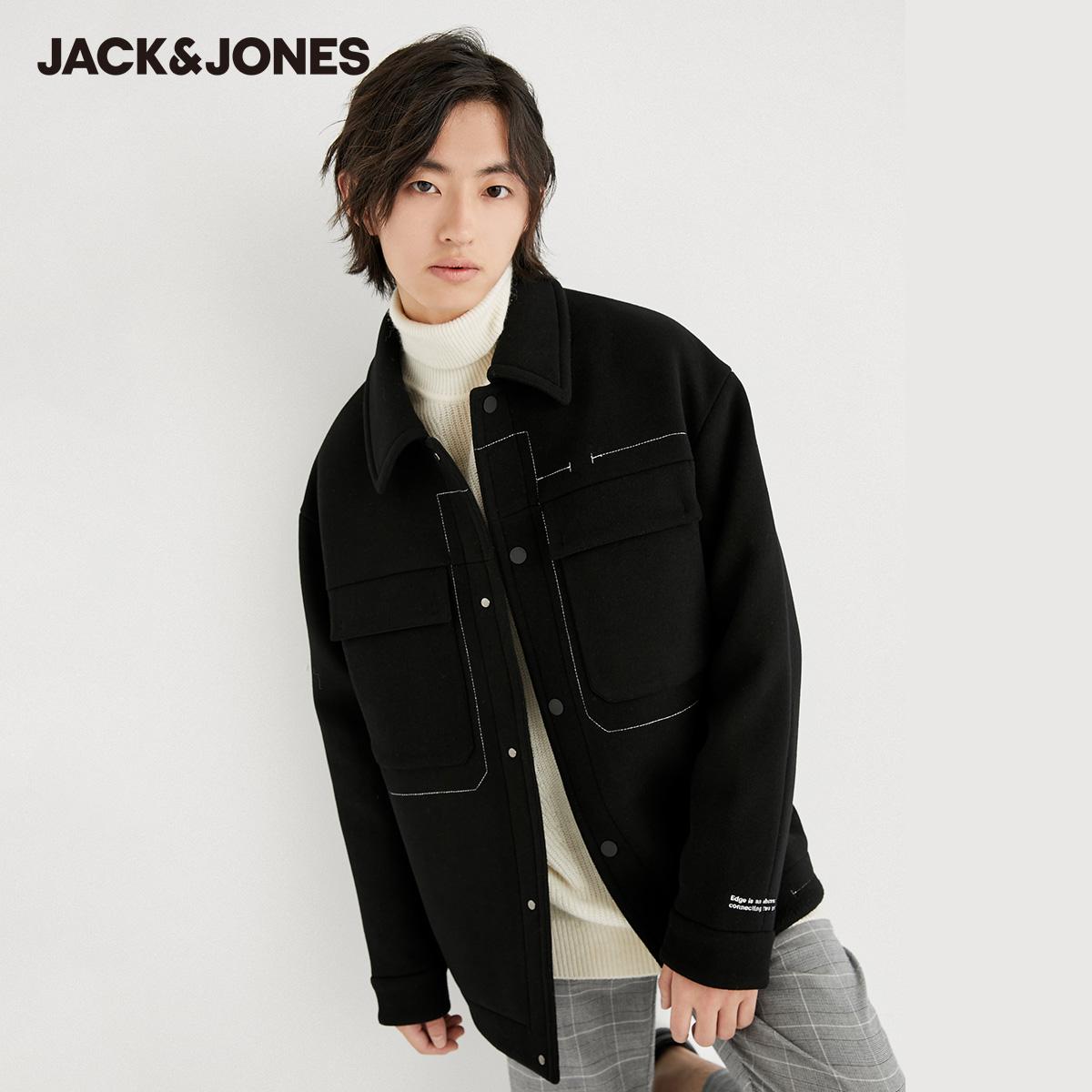 【预售】杰克琼斯百搭时尚男翻领潮流撞色时尚毛呢夹克外套上衣