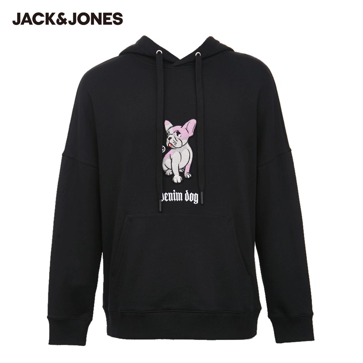 【预售】杰克琼斯秋季新款男士棉情侣宽松刺绣潮流长袖连帽卫衣