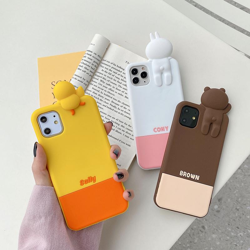 趴趴熊苹果11pro手机壳iPhonex女xr可爱xsmax硅胶7防摔6