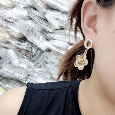 2件包邮 日韩新款时尚百搭显瘦貂毛豹纹几何花朵圆圈方形简约耳环