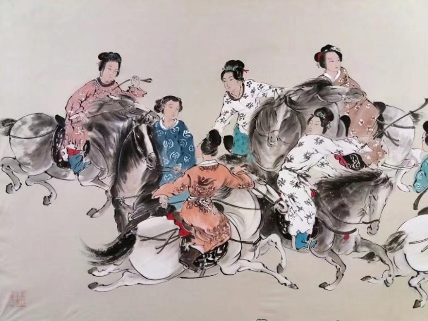 国画唐人蹴鞠保真定制  带作品合影 客厅书房办公室 装饰收藏