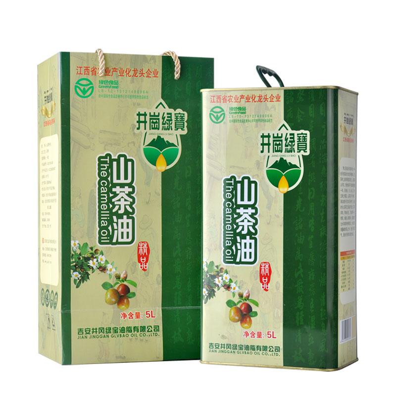 井岗绿宝冷榨茶油山茶油5L纯山茶籽油茶树油食用油婴儿外用老茶油