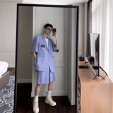 Lavender suit trousers Weilian Wei Zhi-long right person with a cargo of three-piece shorts male summer short-sleeved suit