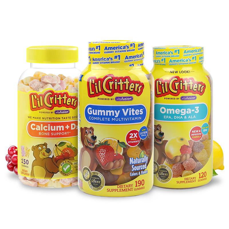 丽贵lilcritters进口小熊糖儿童多维190粒+钙VD150粒+鱼油120粒