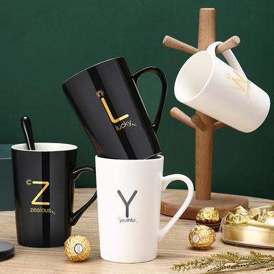 创意陶瓷马克杯带盖勺杯子个性潮流情侣男女牛奶咖啡茶杯家用水杯