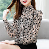 2020 spring dress new floral shirt female long-sleeved bottoming shirt foreign style small shirt temperament cover belly chiffon shirt summer