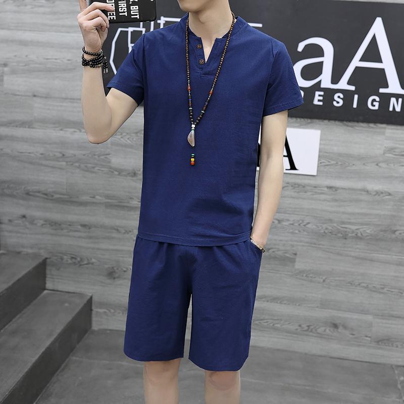 夏季短袖男土中国风半袖上衣服T恤V领潮流大码短裤体恤衫套装男装