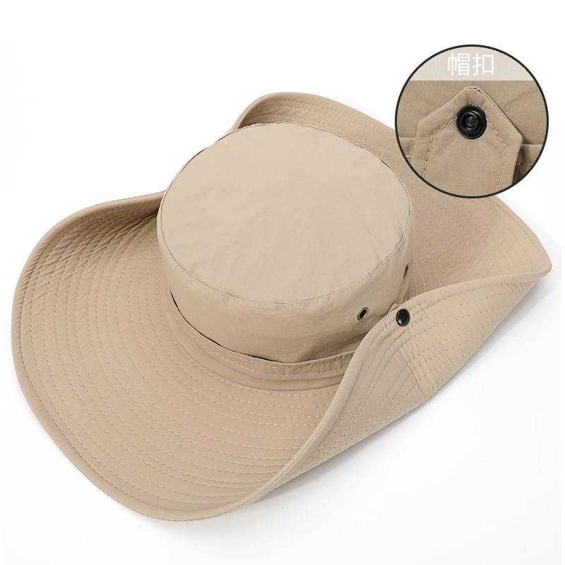 帽子男士防晒帽钓鱼遮阳帽渔夫帽夏天大沿帽遮脸户外透气防护大檐【图5】