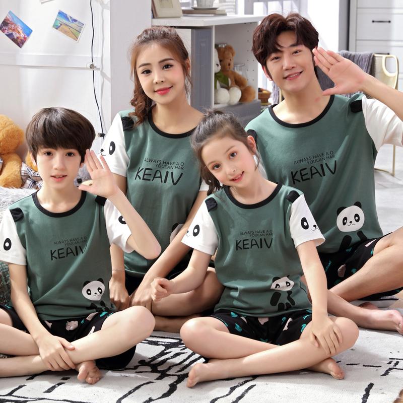 亲子睡衣夏季一家三口纯棉短袖女孩中大童男童儿童家居服母女套装