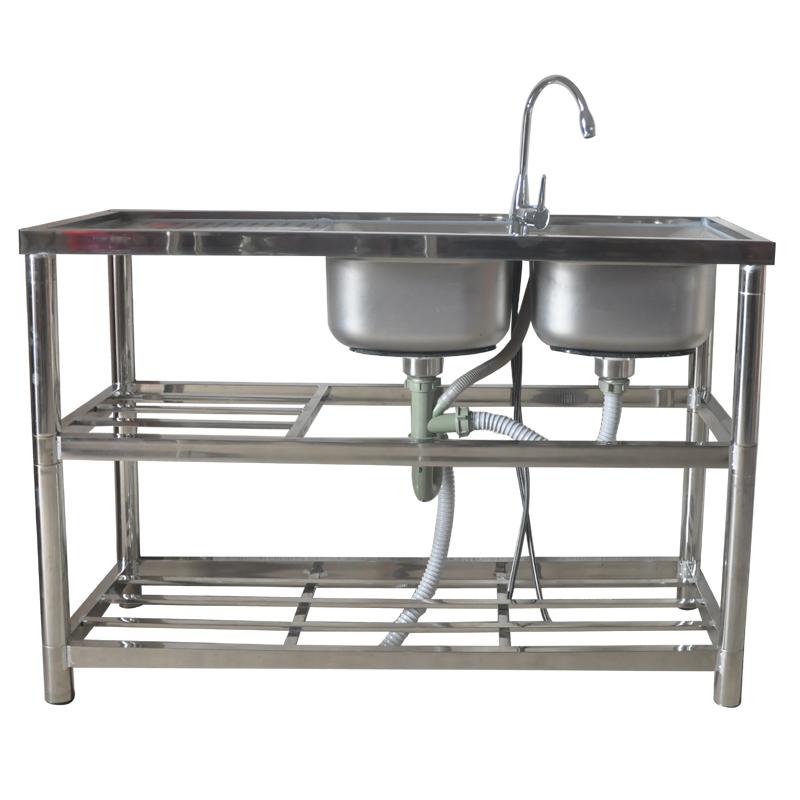 不銹鋼水槽家用商用廚房洗菜盆洗碗池陽臺雙盆單槽雙槽帶支架包郵