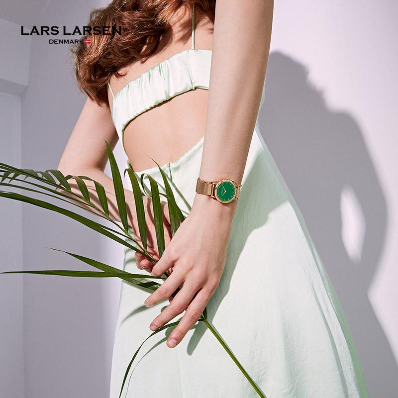 LARSLARSEN拉尔森正品小绿表 丹麦手表女小众轻奢简约复古腕表