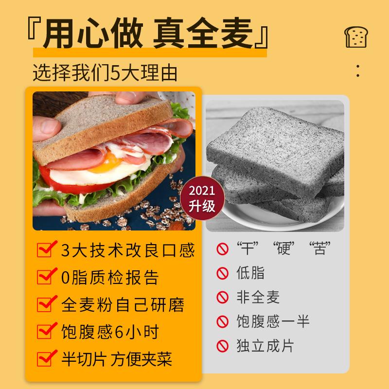 0脂肪全麦面包无糖精脱脂粗粮黑麦代餐饱腹食品减低脂早餐吐司片 No.4