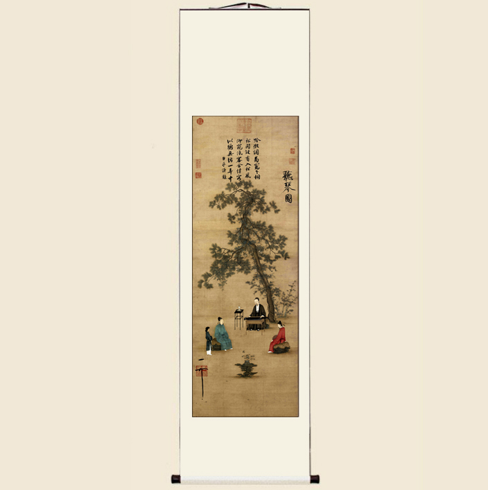 宋徽宗聽琴圖仿古畫復制客廳書房玄關裝飾中國畫名人字畫掛畫裝裱