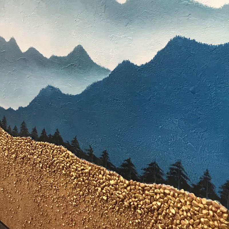 純手繪山峰風景油畫創意小石子現代掛畫新中式客廳玄關輕奢裝飾畫