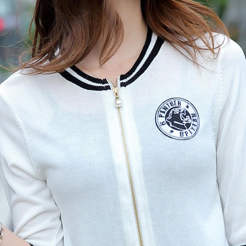 冰丝黑白短款小披肩春秋毛衣女七分袖棒球服针织开衫短外套薄外搭