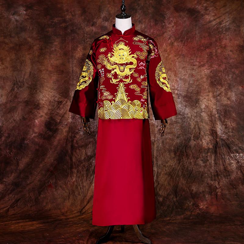 秀禾服男新郎服中式结婚礼服大码秀禾男装男士结婚唐装秀和龙凤褂