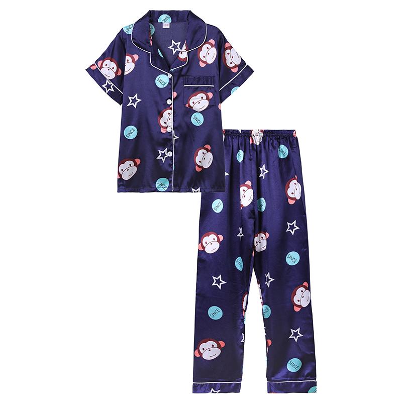 春秋冰丝绸长袖亲子夏装睡衣男一家三口母女中大童四季家居服套装