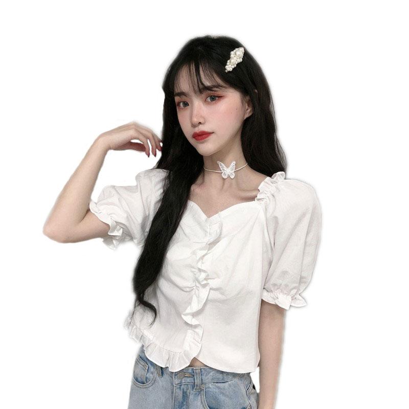 泡泡袖短袖衬衫女棉麻方领短款夏季薄款衬衣荷叶边宽松显瘦上衣