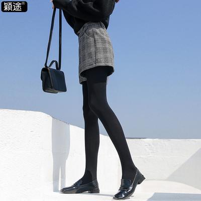 短裤女秋冬季2018新款外穿原宿百搭韩版阔腿毛呢宽松复古格子裤子