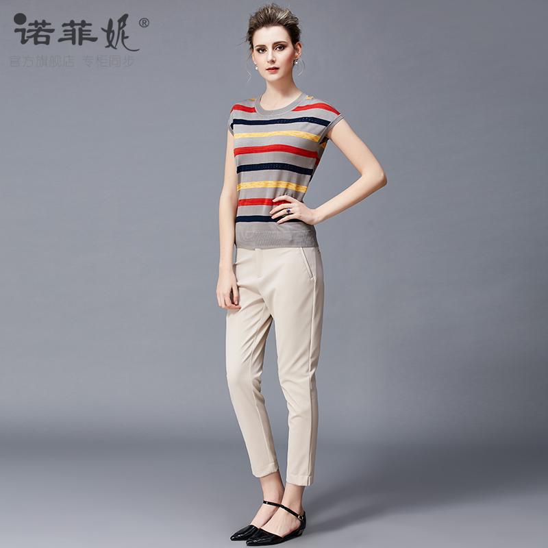 薄款真丝短袖上衣品牌女装2019新款妈妈夏装条纹显瘦针织衫T恤女