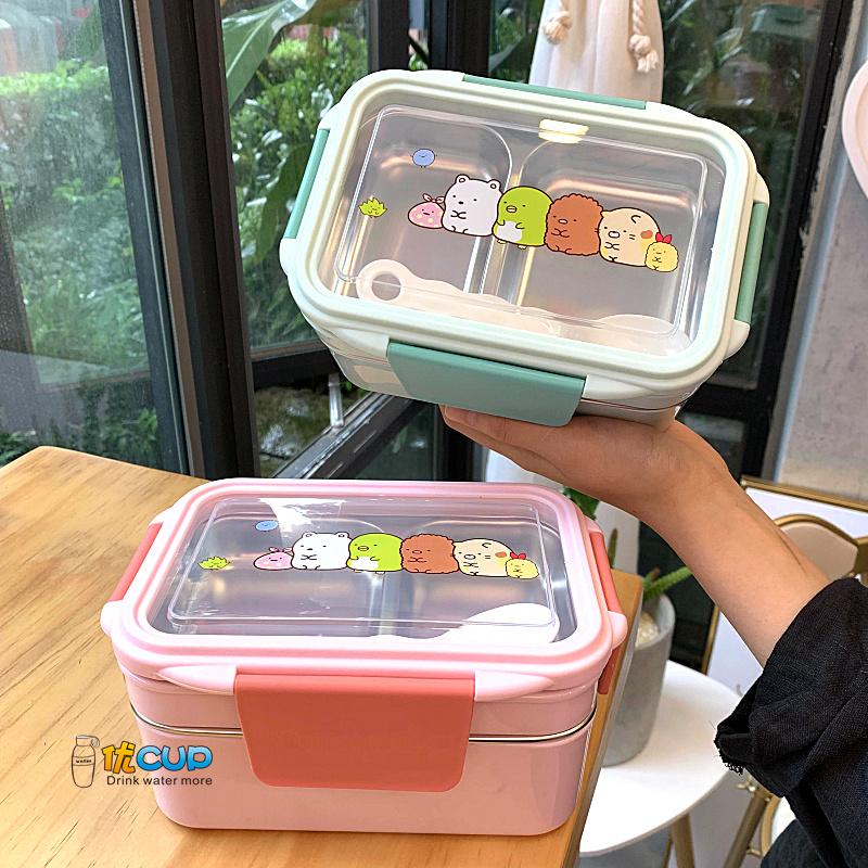 角落生物便當盒飯盒保溫雙層304不鏽鋼卡通可愛男女學生小學帶飯