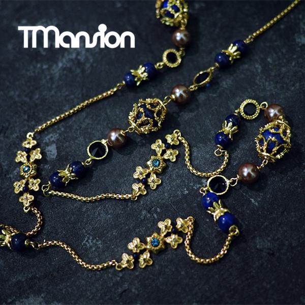 T公馆设计师系列 拜占庭巴洛克百搭气质珍珠项链长款毛衣链 女