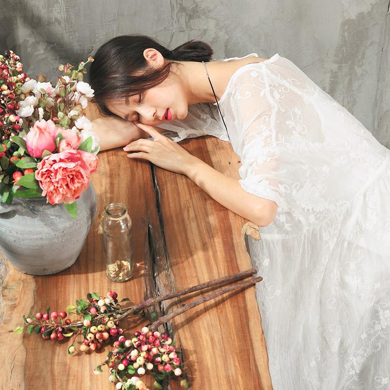 可然 若见/文艺真丝皱 超仙蕾丝连衣裙女装夏季 宽松大码套装长裙