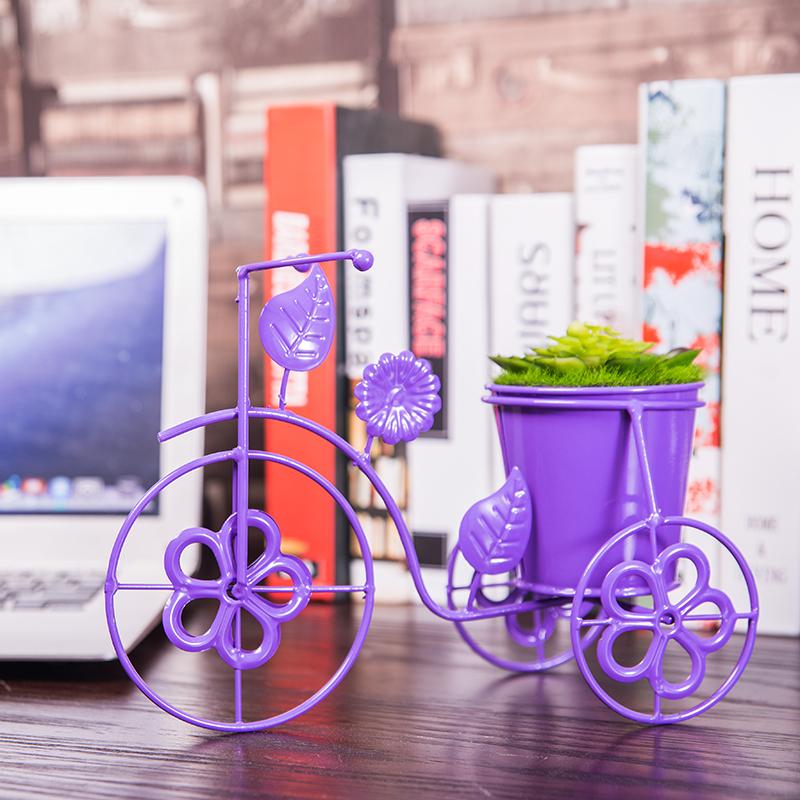 创意桌面自行车花盆架多肉花架现代简约办公室铁艺绿萝吊兰小花架