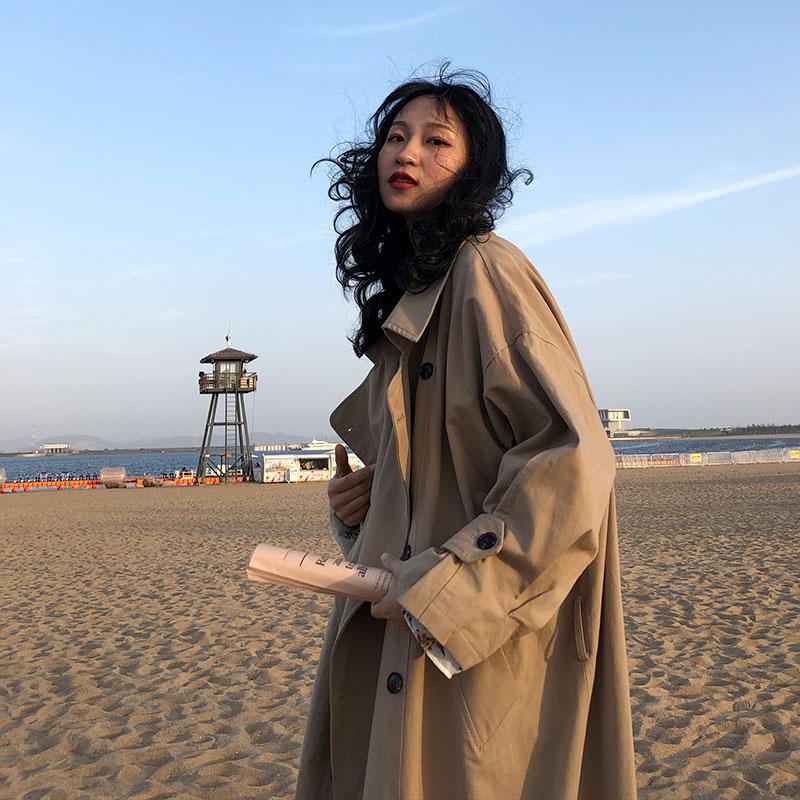 新款春秋气质宽松显瘦外套上衣 卡其色风衣女中长款韩版  SCLB 2019