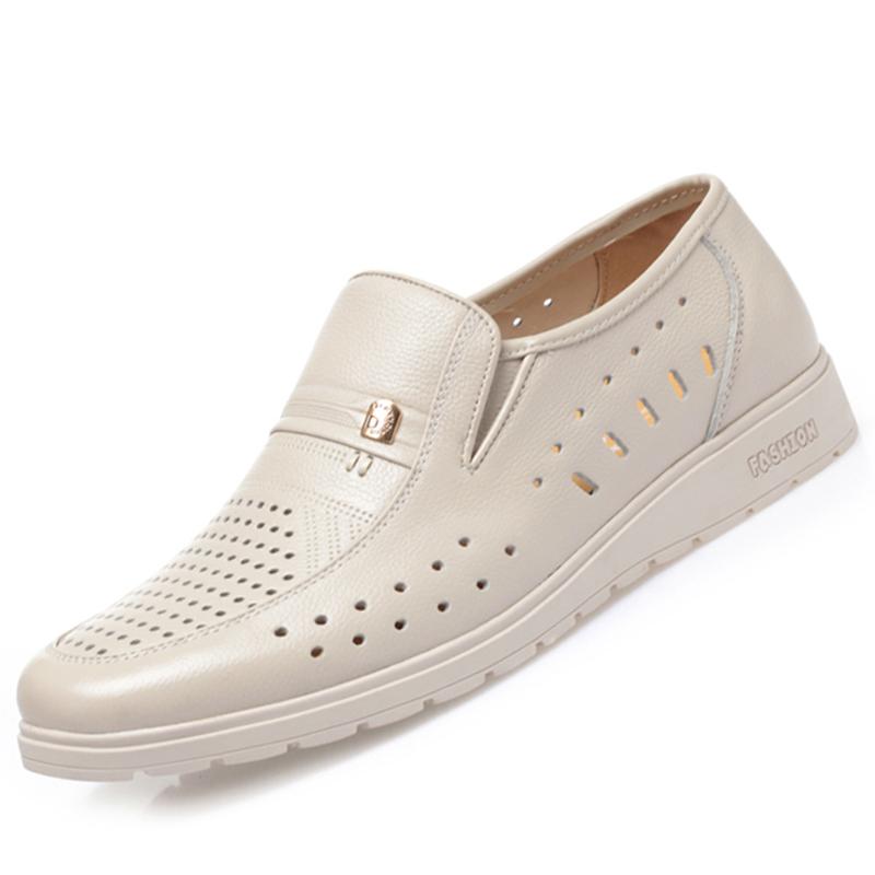 真皮凉鞋男头层牛皮休闲鞋夏季包头米白色套脚凉皮鞋中老年爸爸鞋