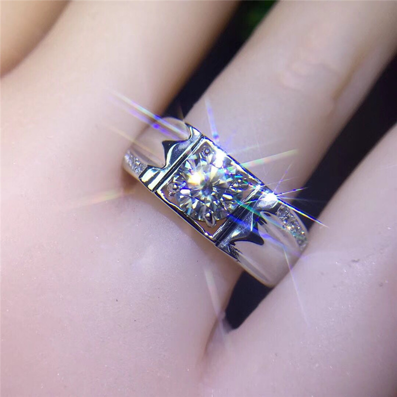 克拉 2 1 色求婚结婚情侣莫桑石钻戒指男女 D 铂金六爪 18K