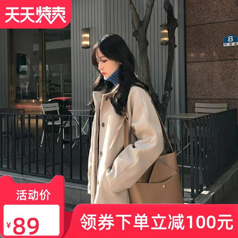 小个子中长款呢子大衣女2019秋冬新款韩版宽松百搭加厚纯色外套女