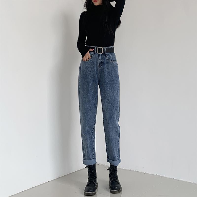 宽松直筒牛仔裤女2021年春夏新款高腰显瘦老爹哈伦萝卜裤子薄款