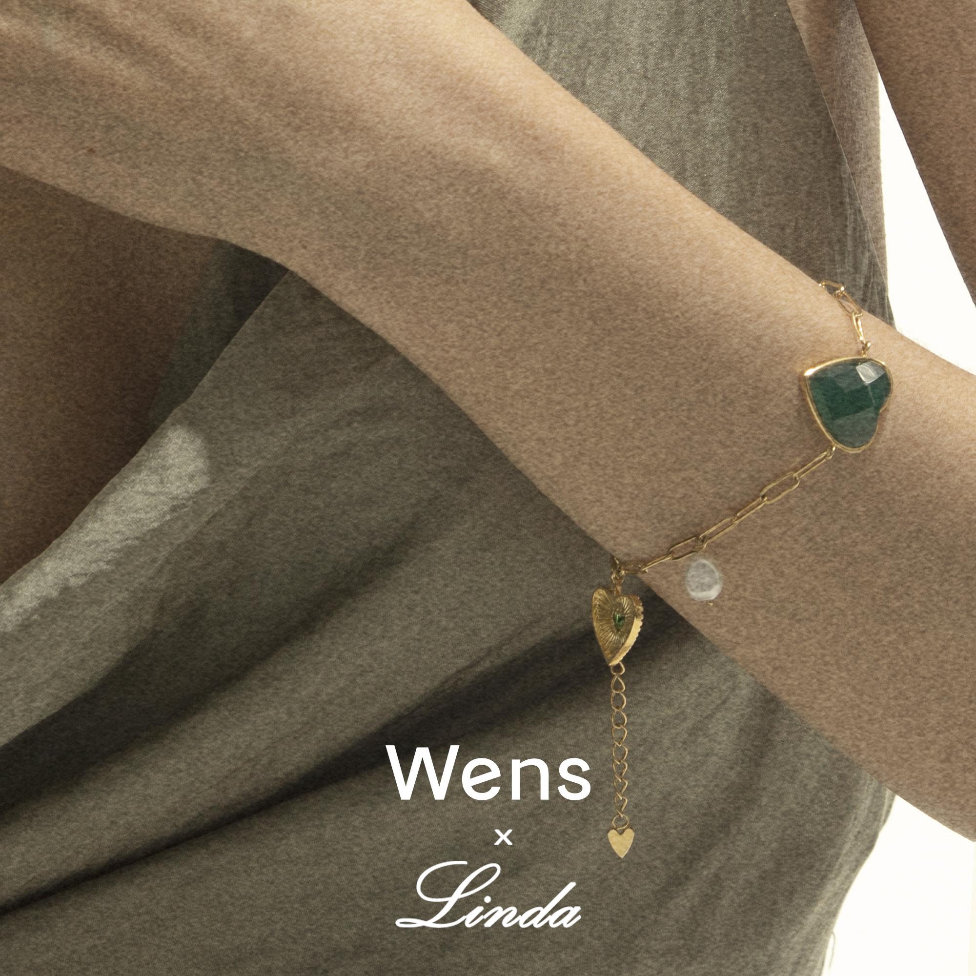 爱心复古绿玛瑙手链 联名系列窄创设计 Linda X Wens 官方店 Wens
