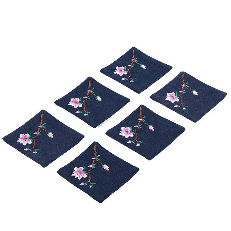 杯垫 布艺手工刺绣棉麻双层吸正方形小隔热垫 功夫茶具配件用品