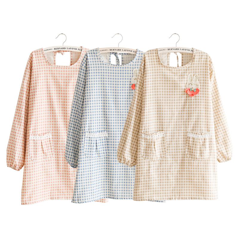 韩版时尚家用厨房长袖防水防油围裙女士可爱成人做饭工作服反穿衣