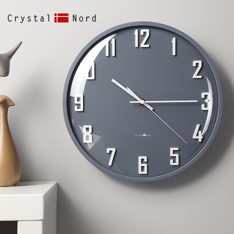 橙色曲面玻璃掛鐘客廳靜音個姓臥室可愛實木北歐風 Nord Crystal
