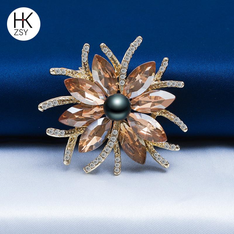 珍世缘(珠宝)天然正品高档大溪地黑珍珠胸针小香风珍珠