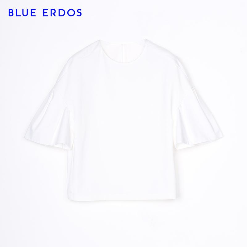BLUE ERDOS 春夏泡泡袖喇叭袖圆领女士短款上衣T恤B275G0010