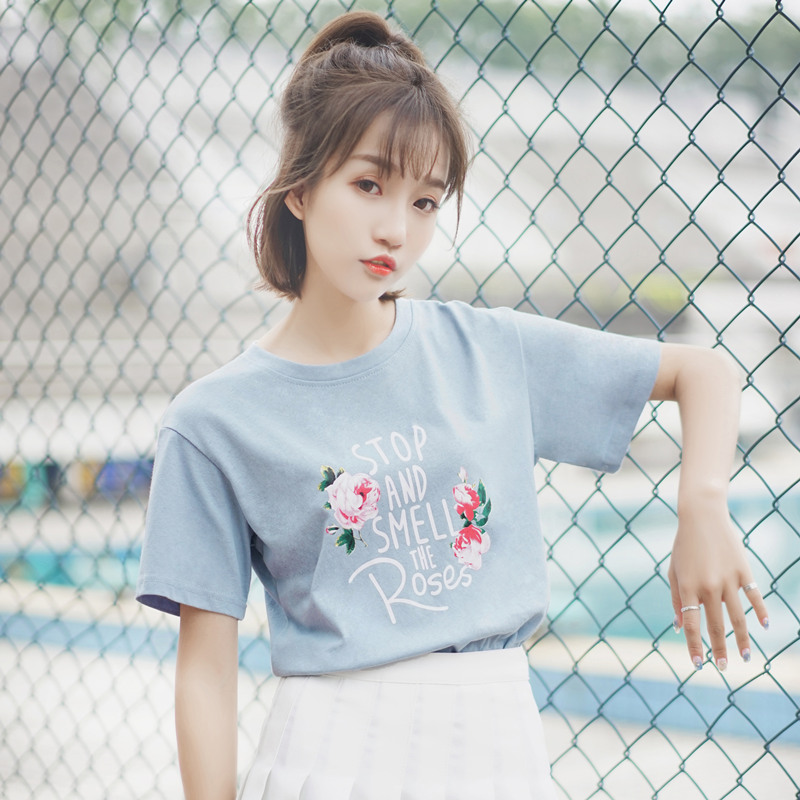 帛卡琪字母印花玫瑰蓝色T恤女2018短袖新款学生ins韩范潮人上衣夏